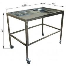 Стол ветеринарный вскрывочный СВВ 1200 из нержавеющей стали